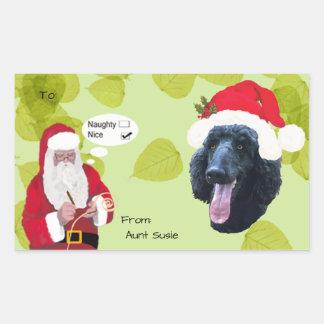 Makin du caniche w/Santa sa liste vilaine ou Nice Sticker Rectangulaire