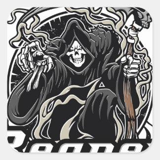 mal gothique de faucheuse pour Halloween Sticker Carré