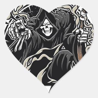 mal gothique de faucheuse pour Halloween Sticker Cœur