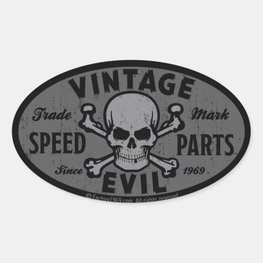 Mal vintage 007B Autocollant Ovale