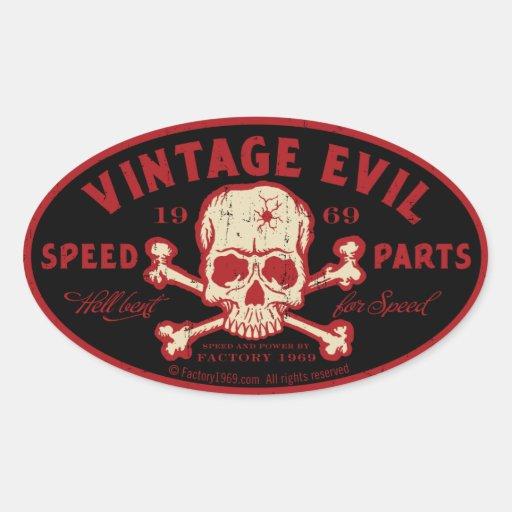Mal vintage 016A Autocollants Ovales