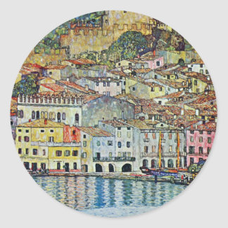 Malcesine sur le policier de lac par Gustav Klimt Sticker Rond