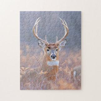 Mâle de Whitetail dans la peinture de paysage de Puzzle