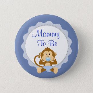 Maman à être bouton bleu de baby shower de singe badges