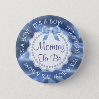Maman à être bouton bleu de faire-part de satin en badges