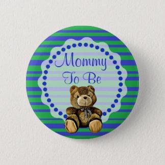 Maman à être bouton bleu et vert de baby shower badge