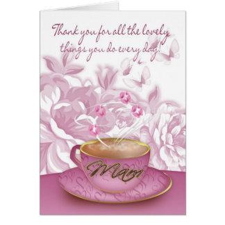 Maman - carte du jour de mère avec le thé et les