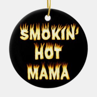 Maman chaude de Smokin Ornement Rond En Céramique