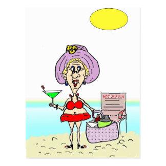 MAMAN CHAUDE MARTINI BEACH POSTCARD CARTE POSTALE