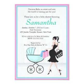 Maman de baby shower à être avec le chariot carton d'invitation  12,7 cm x 17,78 cm