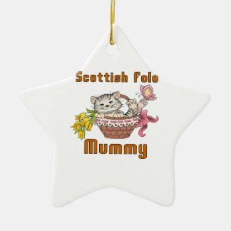 Maman de chat de pli d'écossais ornement étoile en céramique