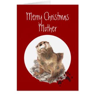 Maman de Joyeux Noël, humour animal de loutre Carte De Vœux