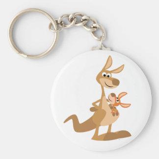 Maman de kangourou de bande dessinée et porte - porte-clé rond