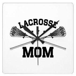 Maman de lacrosse horloge carrée