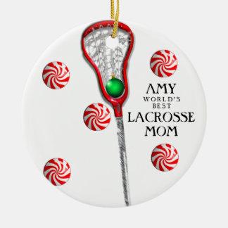 Maman de lacrosse ornement rond en céramique