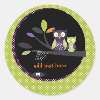 Maman de PixDezines+hibou de bébé, Halloween Sticker Rond