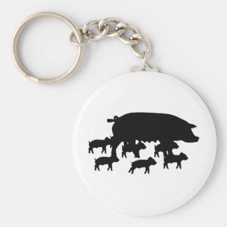 maman de porc avec la jeune icône de porcs porte-clé rond