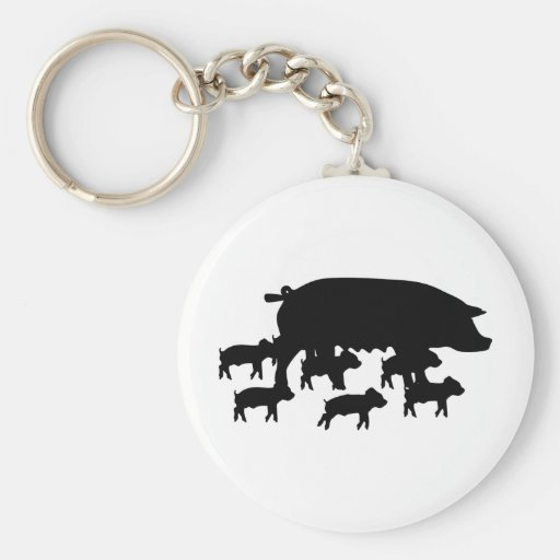 maman de porc avec la jeune icône de porcs porte-clé
