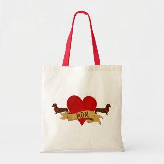 Maman de teckel [style de tatouage] sac de toile