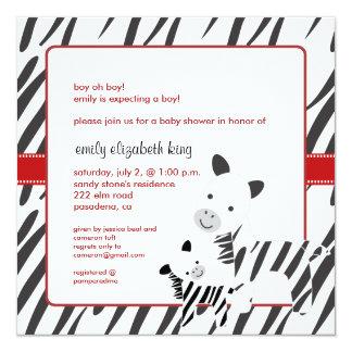 Maman de zèbre + invitations de baby shower de