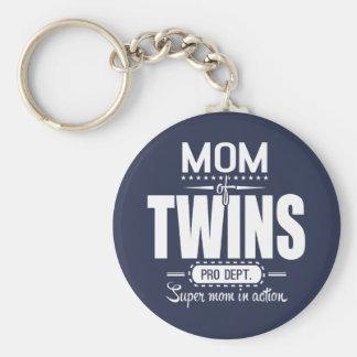 Maman des jumeaux pro Dept. Super Mom dans Porte-clé Rond