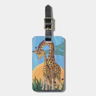 Maman et bébé de girafe étiquettes de bagage