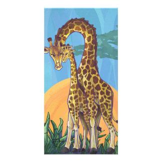 Maman et bébé de girafe photocartes personnalisées