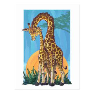 Maman et bébé de girafe cartes postales