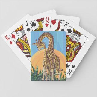 Maman et bébé de girafe jeux de cartes poker