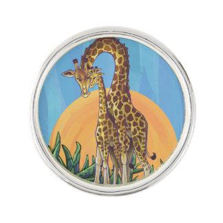 Maman et bébé de girafe épinglette