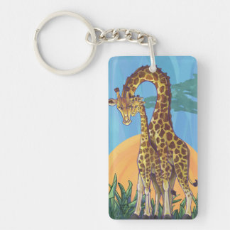 Maman et bébé de girafe porte-clé  rectangulaire en acrylique une face