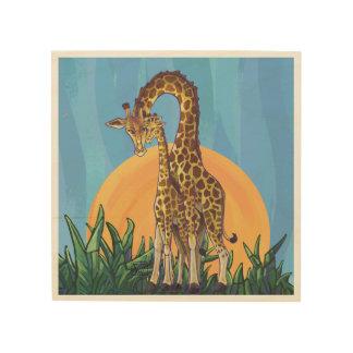 Maman et bébé de girafe canevas en bois