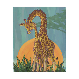Maman et bébé de girafe impression sur bois