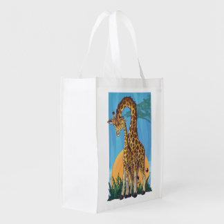 Maman et bébé de girafe sac réutilisable d'épcierie