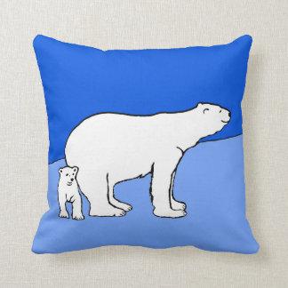 Maman et CUB d'ours blanc Coussin
