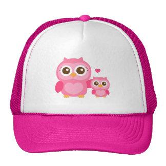 Maman et moi, hibou mignon de bébé, rose casquettes
