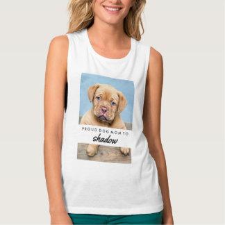 Maman fière de chien   avec le nom et la photo de débardeur