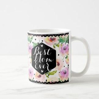 Maman florale d'aquarelle moderne meilleure mug blanc