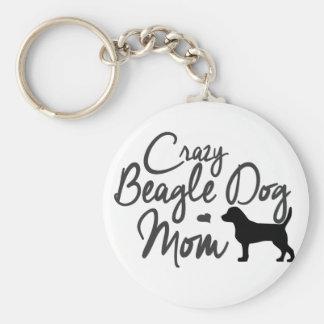 Maman folle de chien de beagle porte-clé rond