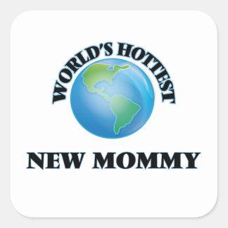 Maman la plus chaude du monde la nouvelle sticker carré