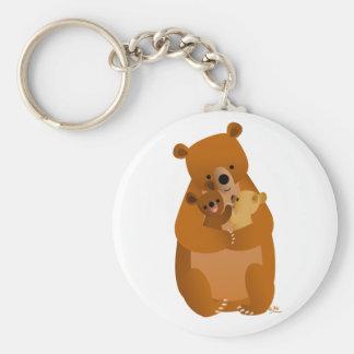 Maman mignonne Bear de bande dessinée et porte - Porte-clés