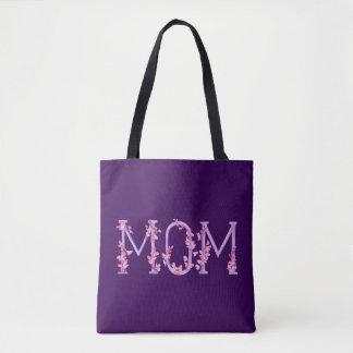 Maman pourpre tordue avec le sac d'art d'orchidées