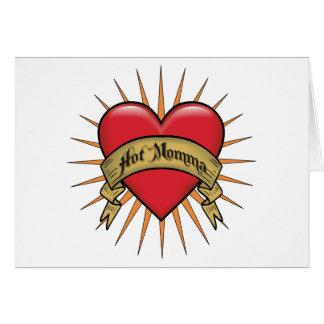 Mamans chaudes de coeur de tatouage cartes de vœux