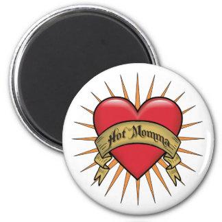 Mamans chaudes de coeur de tatouage magnet rond 8 cm