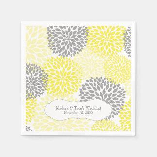 Mamans grises jaunes de dahlia/vos propres mots serviette jetable