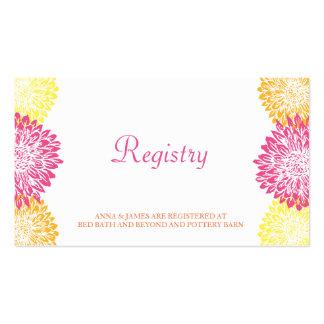 Mamans roses, oranges et jaunes épousant la carte carte de visite standard