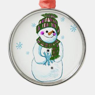 Mamie de bonhomme de neige ornement rond argenté