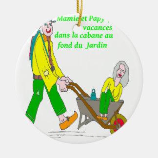 MAMIE PAPY EN VACANCES 1.PNG ORNEMENT ROND EN CÉRAMIQUE