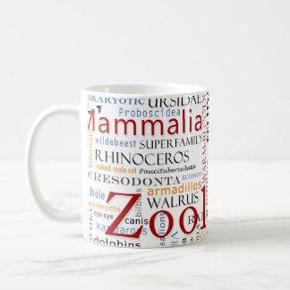 Mammifères dans la typographie mug blanc