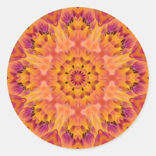 Mandala 06 de fleur autocollant rond